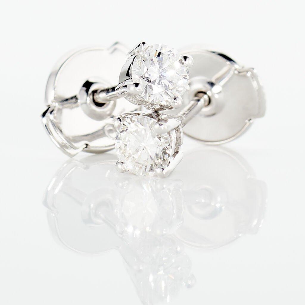 Boucles D'oreilles Or Blanc Victoria Puces Diamants - Clous d'oreilles Femme   Histoire d'Or
