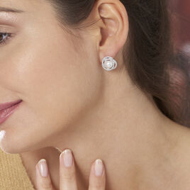 Boucles D'oreilles Pendantes Rosalina Argent Perle Culture Et Oxyde - Boucles d'oreilles pendantes Femme | Histoire d'Or
