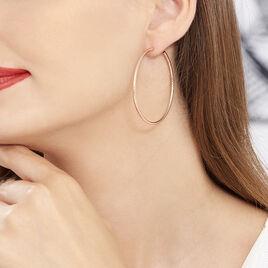 Créoles Agathe Diamantees Argent Rose - Boucles d'oreilles créoles Femme | Histoire d'Or