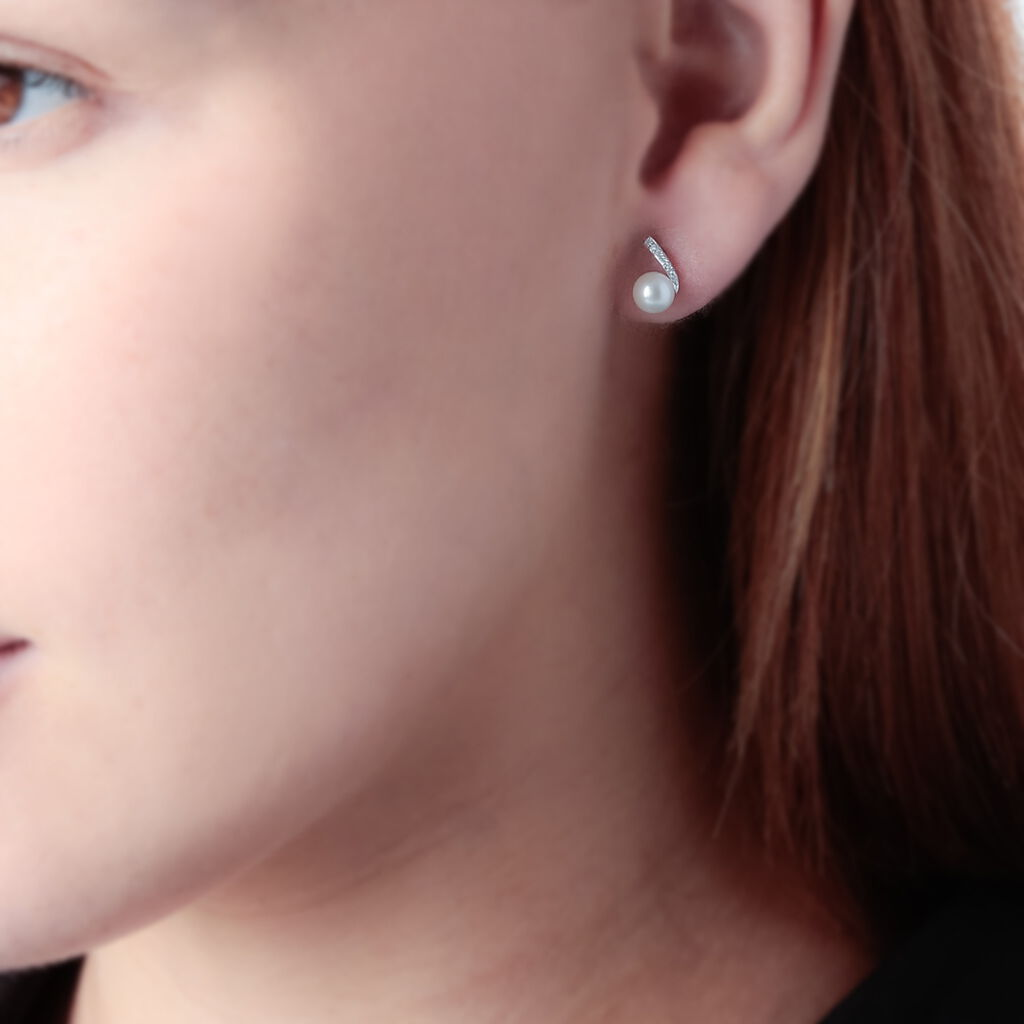 Boucles D'oreilles Puces Angel Or Blanc Perle De Culture Et Diamant - Clous d'oreilles Femme | Histoire d'Or