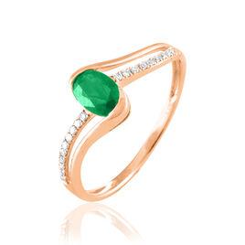 Bague Anja Or Rose Emeraude Et Diamant - Bagues avec pierre Femme | Histoire d'Or