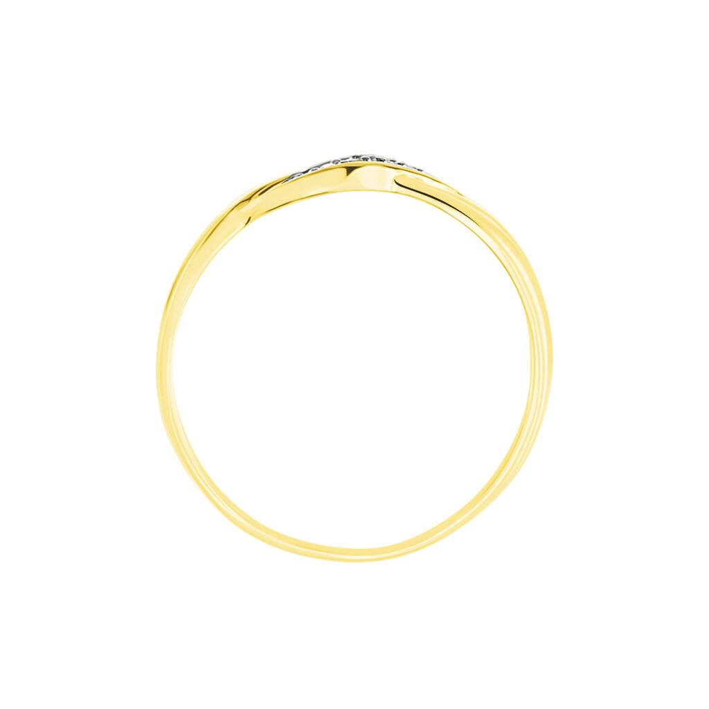 Bague Amayas Or Bicolore Diamant - Bagues avec pierre Femme   Histoire d'Or