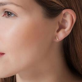 Boucles D'oreilles Puces Alvina Ruban Or Jaune Oxyde De Zirconium - Boucles d'Oreilles Coeur Femme | Histoire d'Or