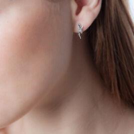 Boucles D'oreilles Puces Oya Argent Blanc Oxyde De Zirconium - Boucles d'oreilles fantaisie Femme | Histoire d'Or