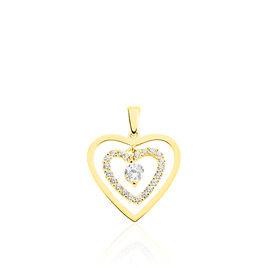 Pendentif Ademe Or Jaune Oxyde De Zirconium - Pendentifs Coeur Femme | Histoire d'Or
