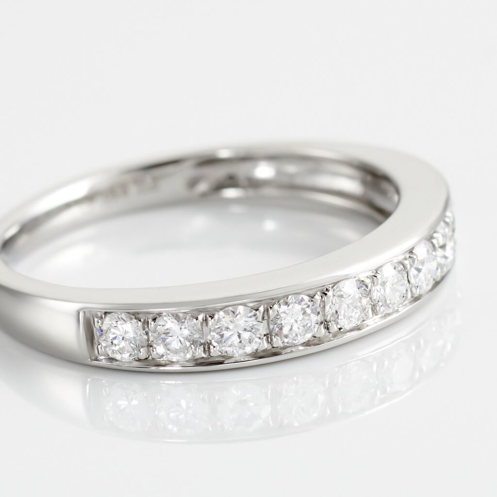 Demi Alliance Juliette Platine Blanc Diamant - Alliances Femme | Histoire d'Or