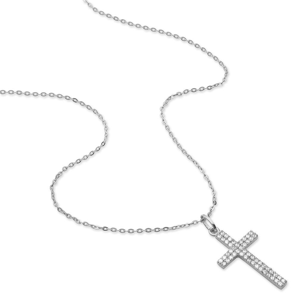 Collier Carola Argent Blanc Oxyde De Zirconium - Colliers Croix Femme   Histoire d'Or