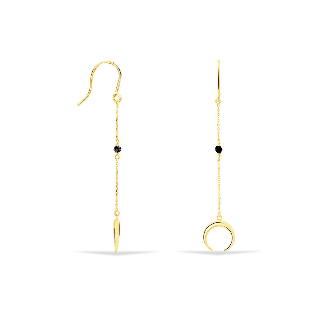 Boucles D'oreilles Pendantes Sereine Or Jaune Spinelle - Boucles d'Oreilles Lune Femme | Histoire d'Or