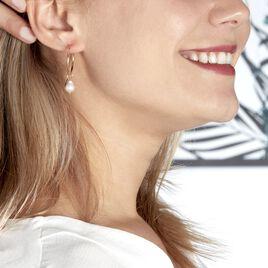 Créoles Soalie Poire Plaque Or Jaune Perle D'imitation - Boucles d'oreilles créoles Femme | Histoire d'Or