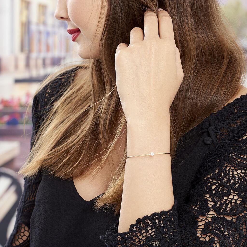 Bracelet Jonc Marinne Plaque Or Jaune Oxyde De Zirconium - Bracelets fantaisie Femme   Histoire d'Or