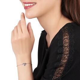Bracelet Origami Argent Blanc Oxyde De Zirconium - Bracelets Coeur Femme | Histoire d'Or