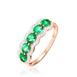 Bague Margaux Or Rose Emeraude Et Diamant - Bagues avec pierre Femme   Histoire d'Or