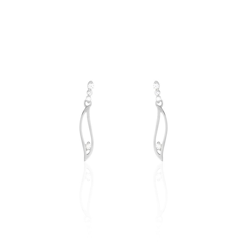 Boucles D'oreilles Pendantes Ysanna Or Blanc Oxyde De Zirconium - Boucles d'Oreilles Plume Femme   Histoire d'Or