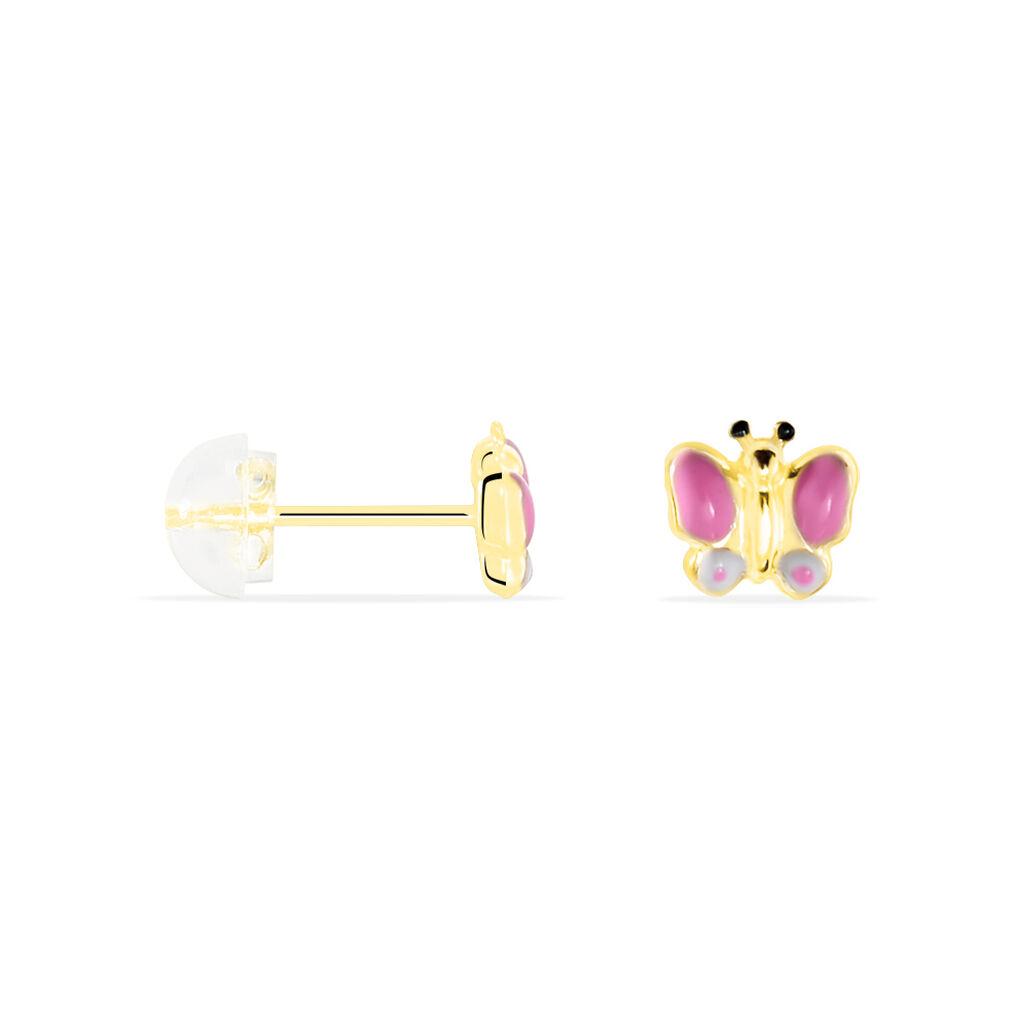 Boucles D'oreilles Puces Sienna Papillon Or Jaune - Boucles d'Oreilles Papillon Enfant | Histoire d'Or
