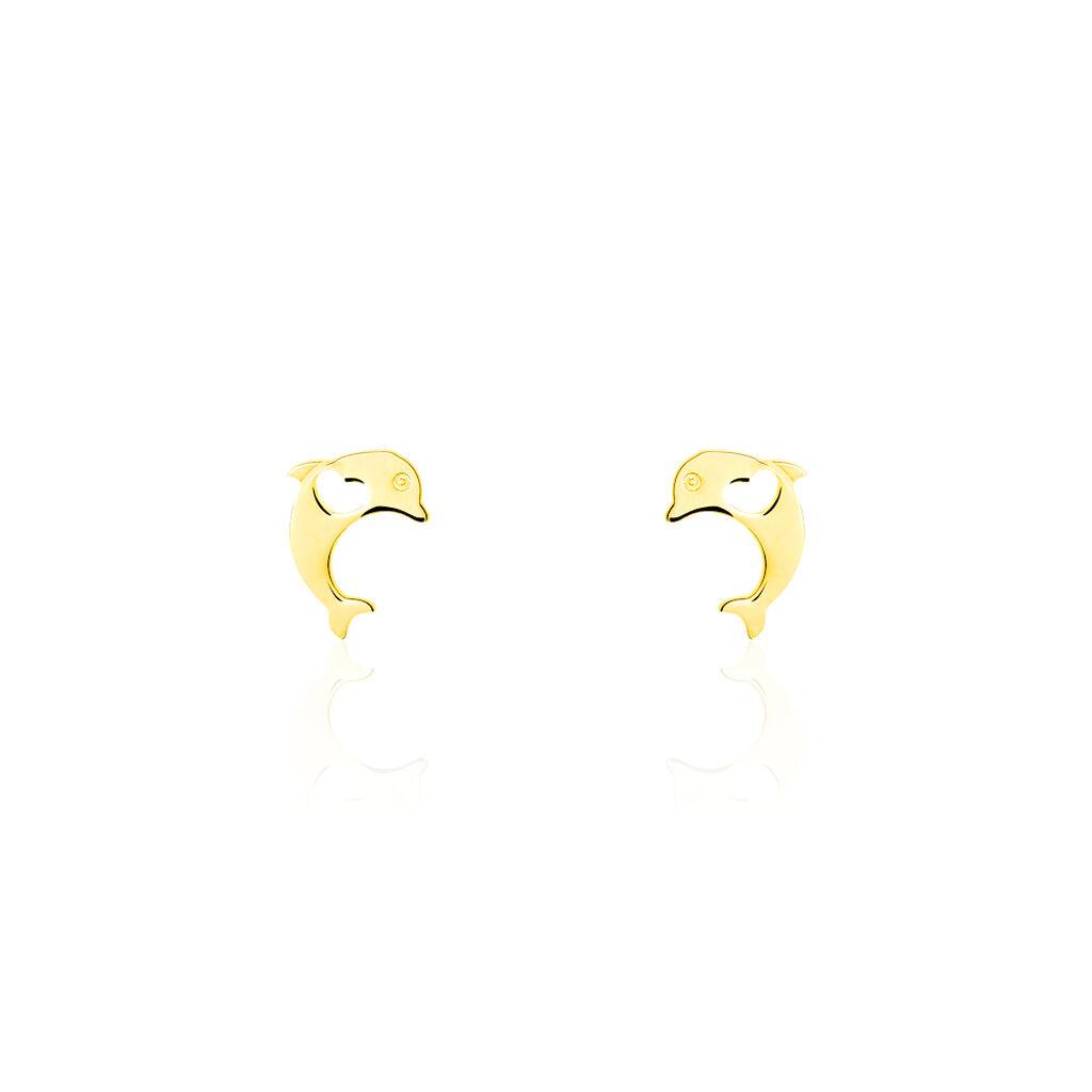 Boucles D'oreilles Puces Mael Dauphin Or Jaune - Boucles d'Oreilles Coeur Enfant | Histoire d'Or