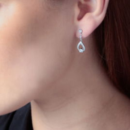 Boucles D'oreilles Pendantes Istanbul Argent Blanc Oxyde De Zirconium - Boucles d'oreilles fantaisie Femme | Histoire d'Or