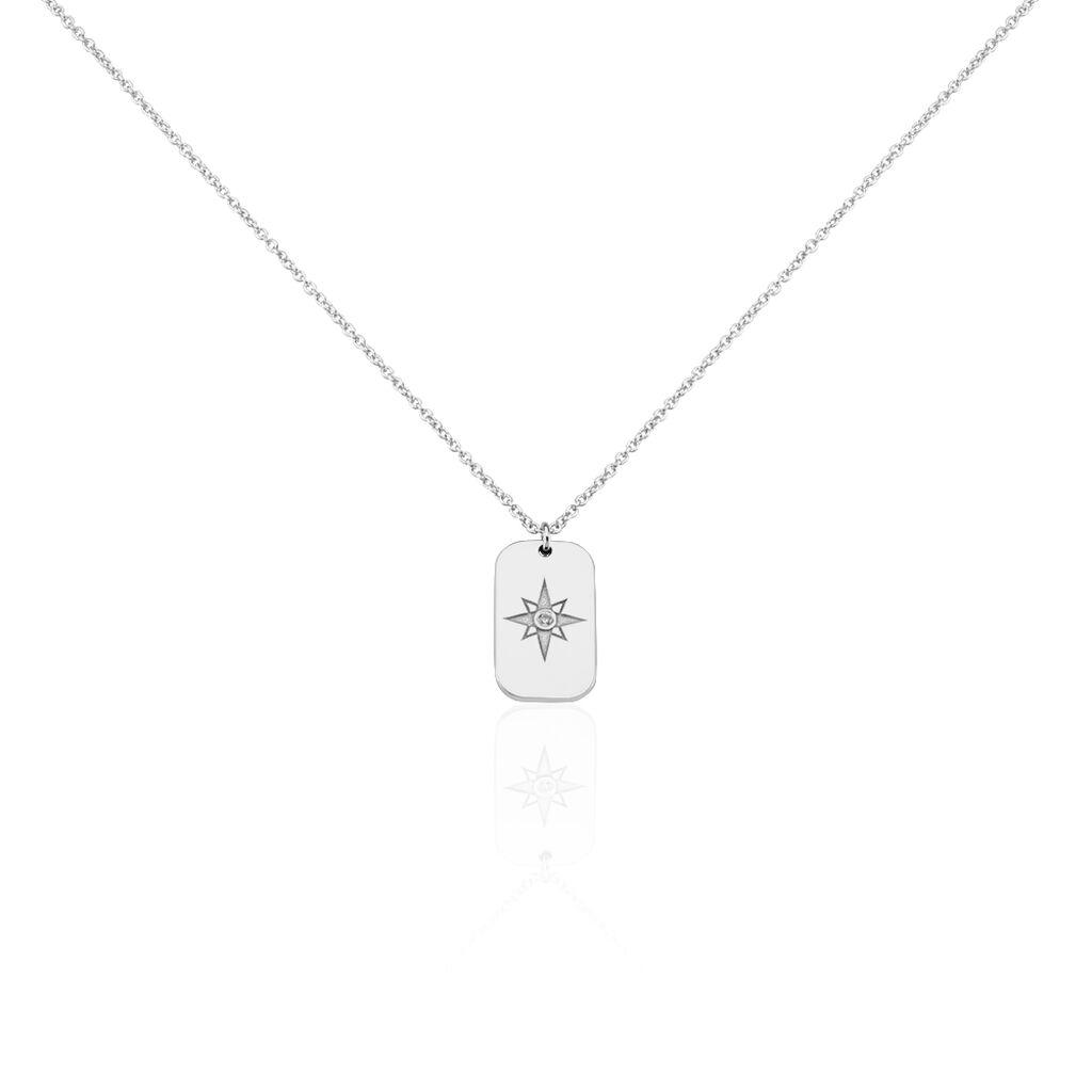 Collier Laig Argent Blanc Oxyde De Zirconium - Colliers Arbre de vie Femme   Histoire d'Or