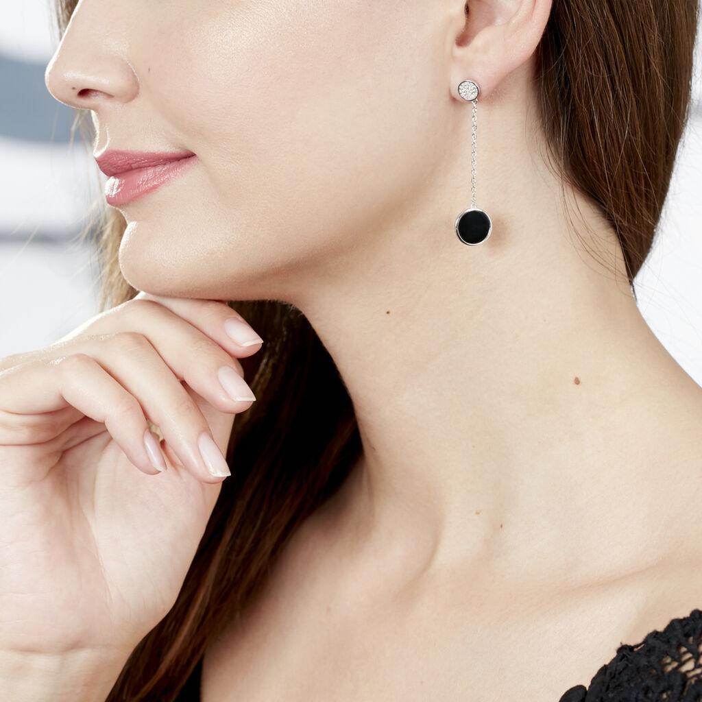 Boucles D'oreilles Pendantes Adonya Argent Céramique Et Oxyde - Boucles d'oreilles fantaisie Femme | Histoire d'Or