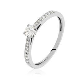 Bague Solitaire Laetitia Platine Blanc Diamant - Bagues avec pierre Femme | Histoire d'Or