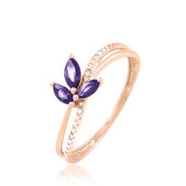 Bague Maura Or Rose Amethyste Et Diamant - Bagues avec pierre Femme | Histoire d'Or