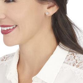 Boucles D'oreilles Puces Horcia Or Blanc Oxyde De Zirconium - Clous d'oreilles Femme   Histoire d'Or
