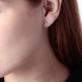 Boucles D'oreilles Puces Eleanor Fleur Or Jaune Oxyde De Zirconium - Clous d'oreilles Femme   Histoire d'Or