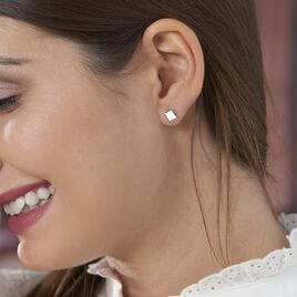 Boucles D'oreilles Puces Calia Argent Blanc - Boucles d'oreilles fantaisie Femme   Histoire d'Or