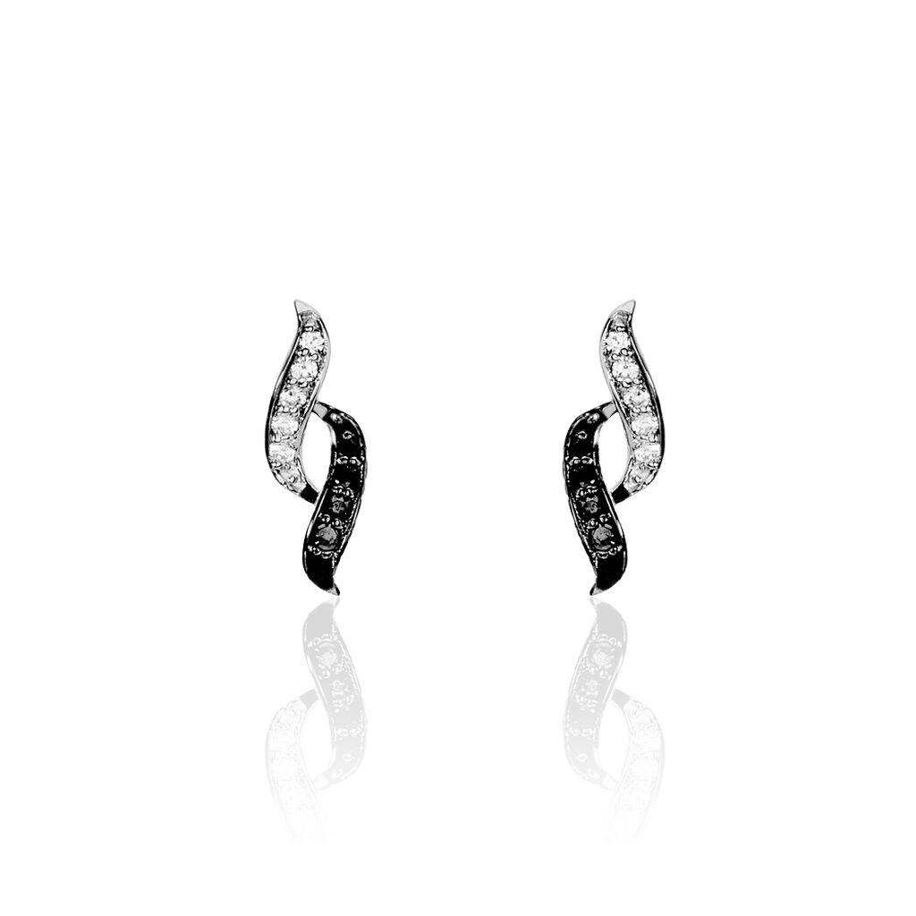 Boucles D'oreilles Pendantes Sylvie Argent Blanc Oxyde De Zirconium - Boucles d'oreilles fantaisie Femme   Histoire d'Or