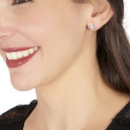 Boucles D'oreilles Puces Giana Or Blanc Topaze Et Oxyde De Zirconium - Clous d'oreilles Femme | Histoire d'Or