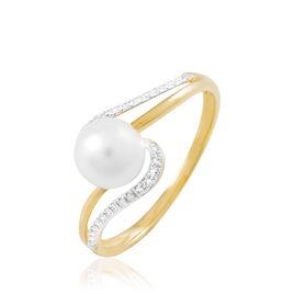 Bague Annwen Or Bicolore Perle De Culture Et Diamant - Bagues avec pierre Femme | Histoire d'Or