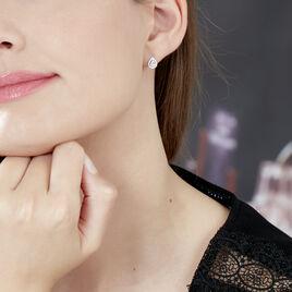 Boucles D'oreilles Puces Hildana Or Blanc Oxyde De Zirconium - Clous d'oreilles Femme | Histoire d'Or