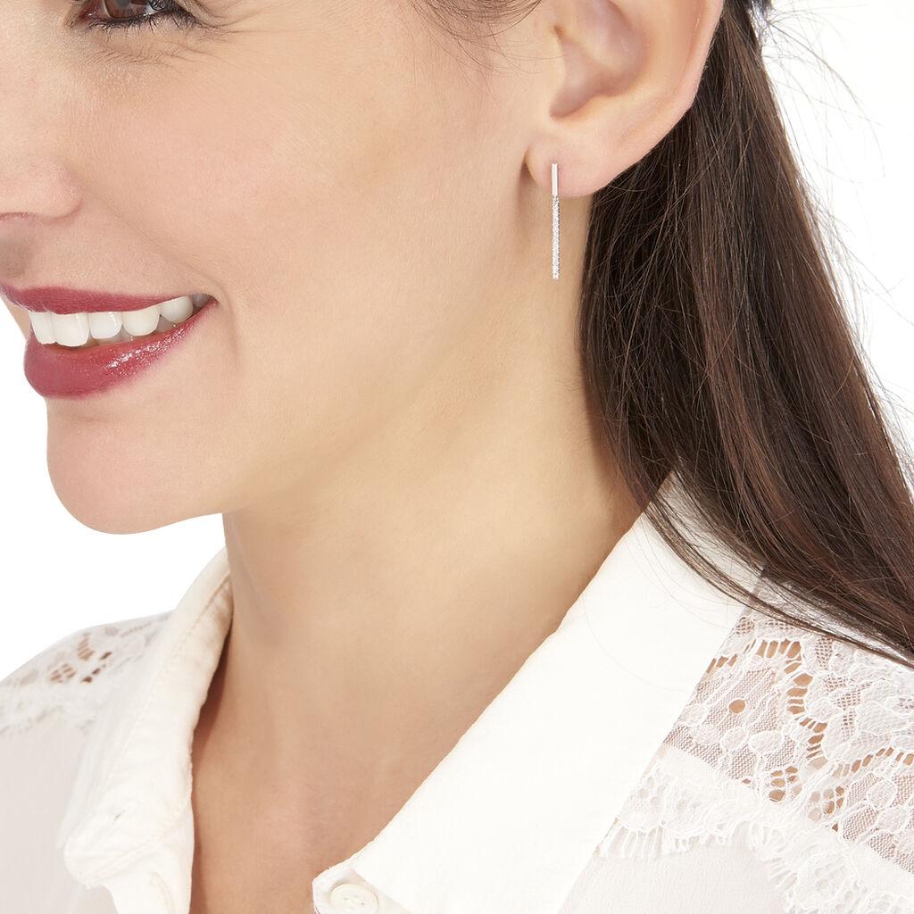 Boucles D'oreilles Puces Alayna Or Blanc Diamant - Boucles d'oreilles pendantes Femme | Histoire d'Or