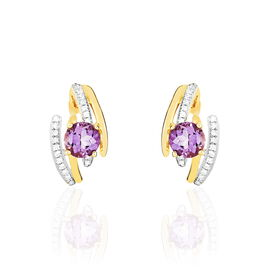 Boucles D'oreilles Pendantes Chloe Or Jaune Amethyste Et Diamant - Boucles d'oreilles pendantes Femme | Histoire d'Or