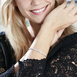 Bracelet Jonc Alane Or Blanc Oxyde De Zirconium - Bracelets joncs Femme | Histoire d'Or