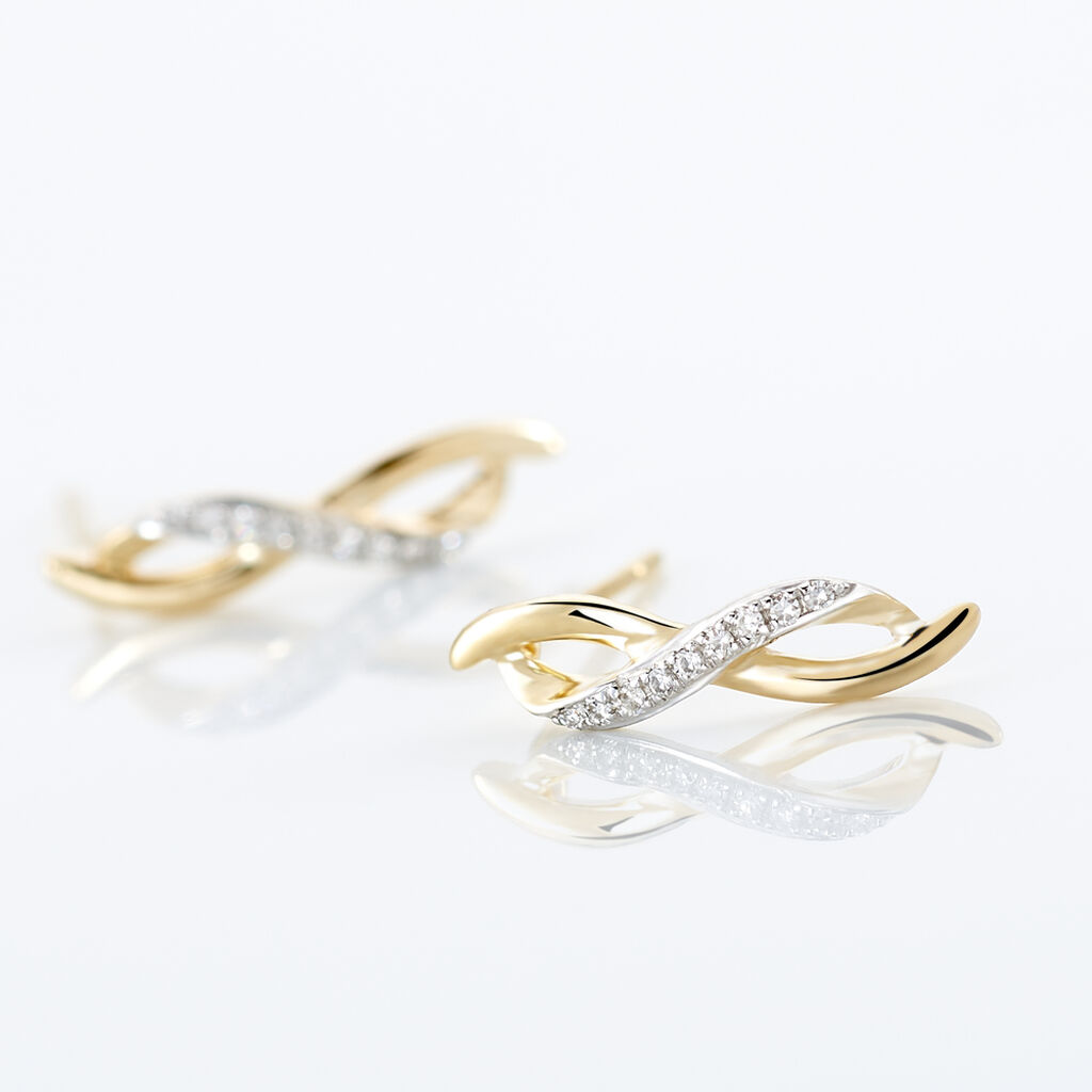 Boucles D'oreilles Puces Smina Or Jaune Diamant - Boucles d'oreilles pendantes Femme   Histoire d'Or