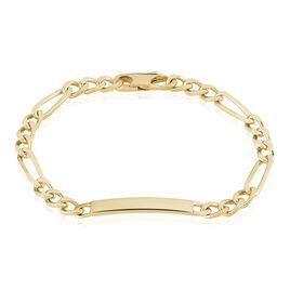 Bracelet Identité Clency Maille Alternée 1/3 Plaque Or Jaune - Bracelets fantaisie Femme | Histoire d'Or
