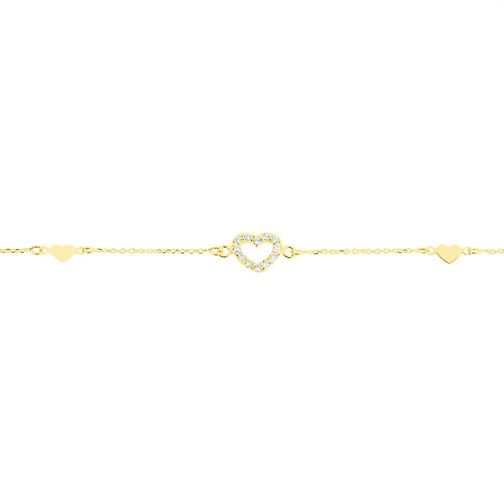 Bracelet Oleanne Or Jaune Oxyde De Zirconium - Bracelets Coeur Femme   Histoire d'Or