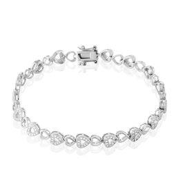 Bracelet Anaële Argent Blanc Oxyde De Zirconium - Bracelets Coeur Femme | Histoire d'Or