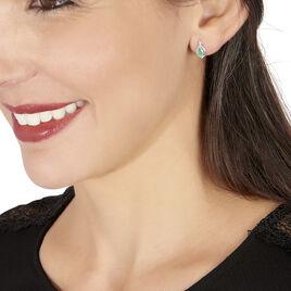 Boucles D'oreilles Puces Angelika Or Blanc Emeraude Et Diamant - Clous d'oreilles Femme | Histoire d'Or