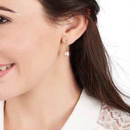 Boucles D'oreilles Pendantes Rose Or Jaune Perle De Culture - Boucles d'oreilles pendantes Femme | Histoire d'Or