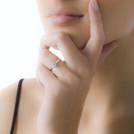 Bague Or Blanc Lily Aigue-marine - Bagues avec pierre Femme | Histoire d'Or