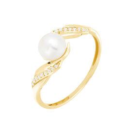Bague Antoinette Or Jaune Perle De Culture Et Oxyde De Zirconium - Bagues solitaires Femme | Histoire d'Or