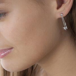 Boucles D'oreilles Pendantes Chani Argent Blanc Oxyde De Zirconium - Boucles d'Oreilles Etoile Femme   Histoire d'Or