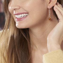 Boucles D'oreilles Pendantes Simona Argent Blanc Ambre - Boucles d'oreilles fantaisie Femme | Histoire d'Or