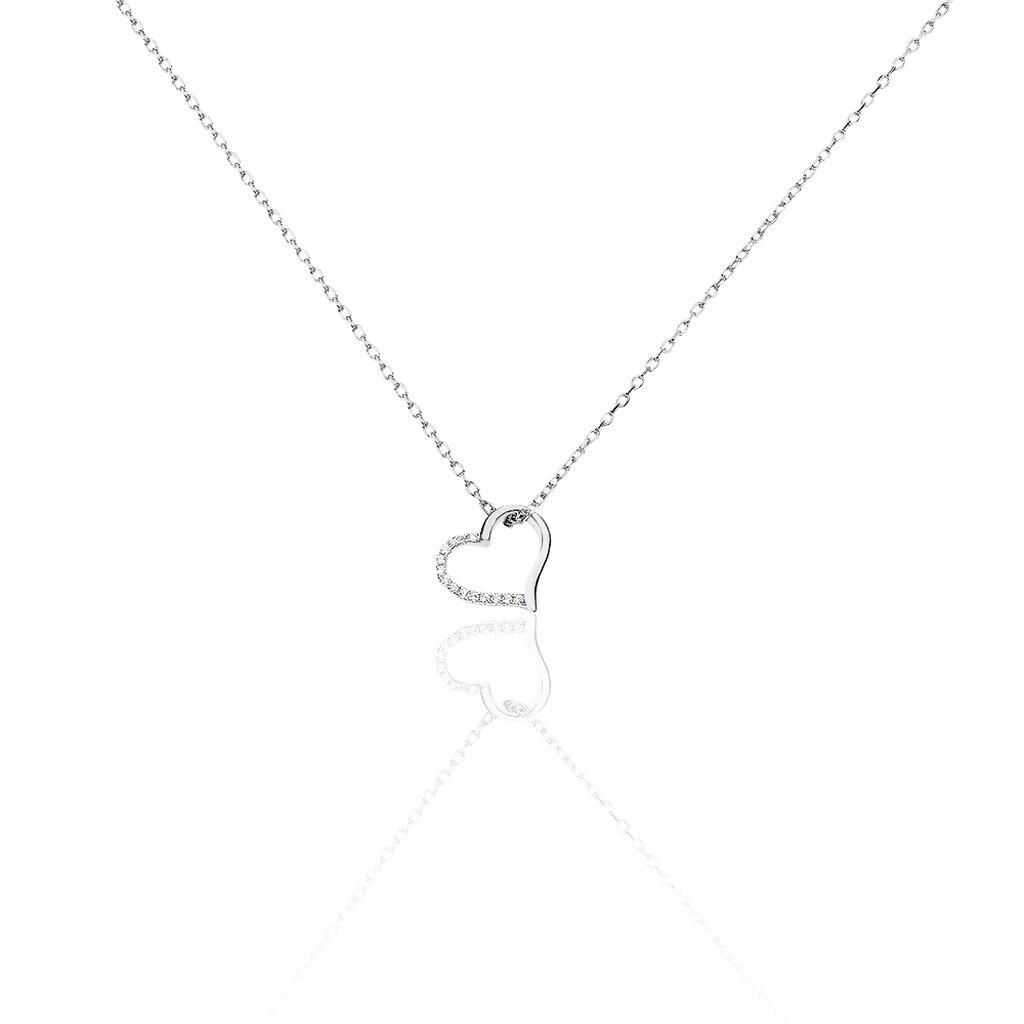 Collier Salona Argent Blanc Oxyde De Zirconium - Colliers Coeur Femme   Histoire d'Or