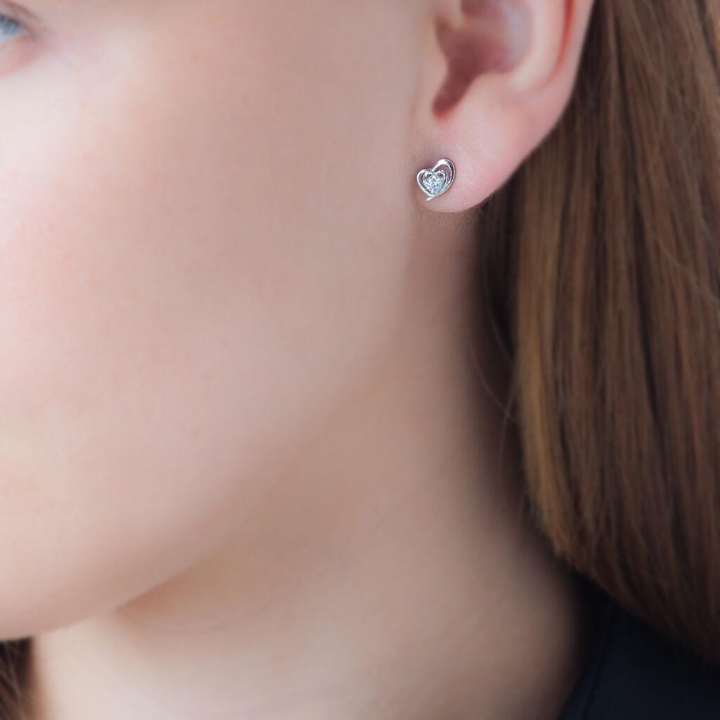 Boucles D'oreilles Puces Alou Argent Blanc Oxyde De Zirconium - Boucles d'Oreilles Coeur Femme   Histoire d'Or