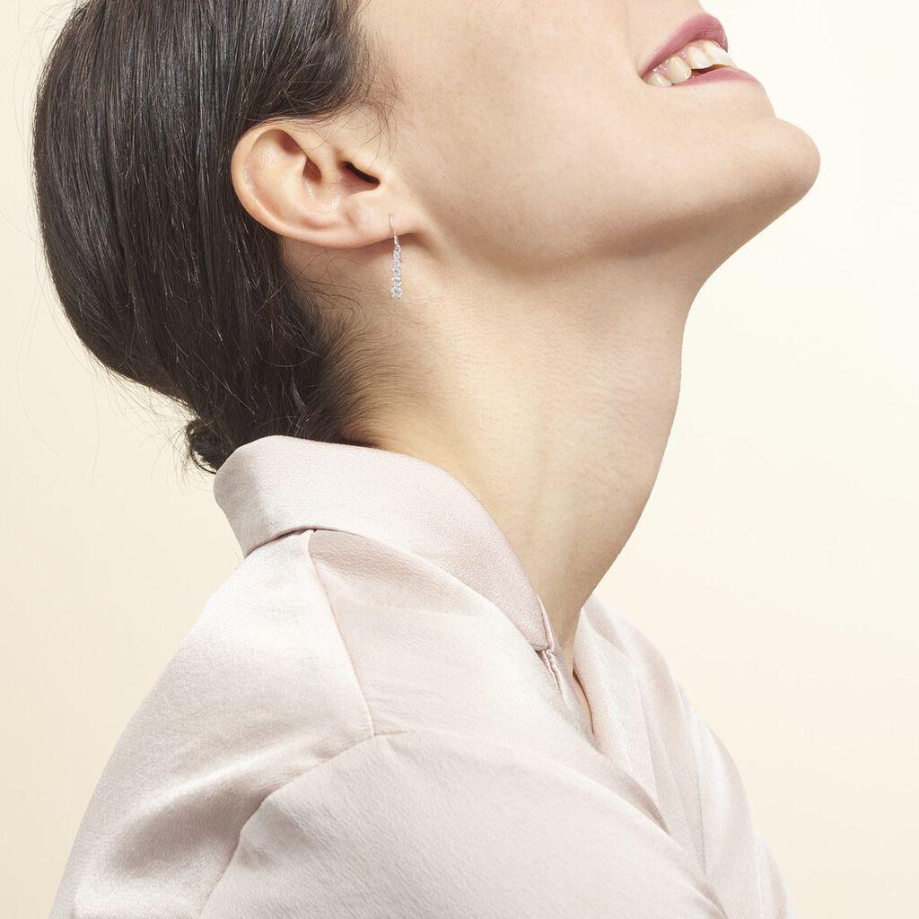 Boucles D'oreilles Pendantes Francilia Argent Blanc Oxyde De Zirconium - Boucles d'oreilles fantaisie Femme   Histoire d'Or