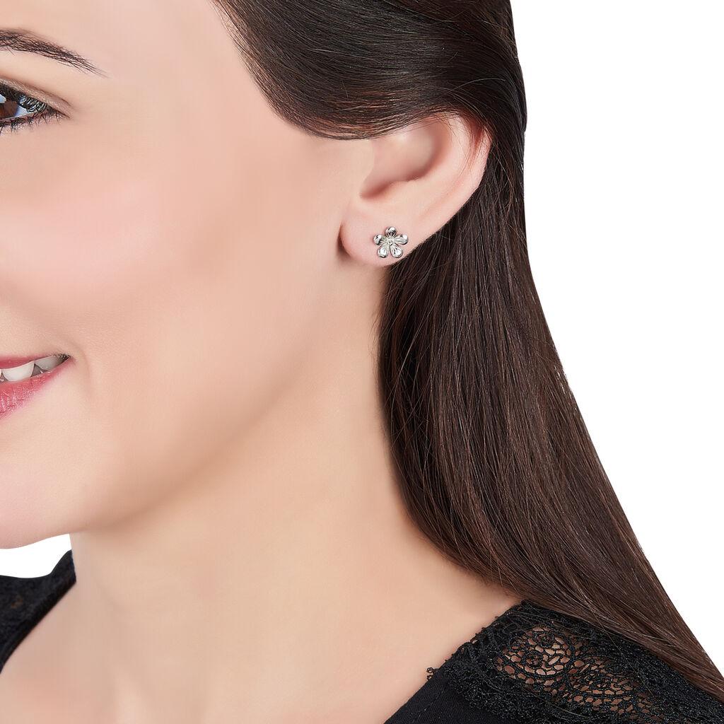 Boucles D'oreilles Puces Locmae Argent Blanc - Boucles d'Oreilles Trèfle Femme   Histoire d'Or