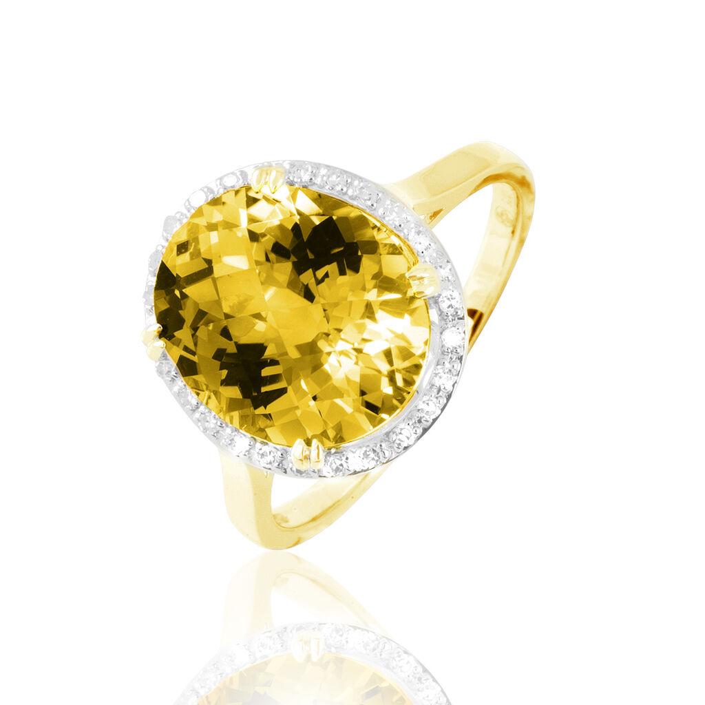 Bague Anna Or Jaune Citrine Et Diamant