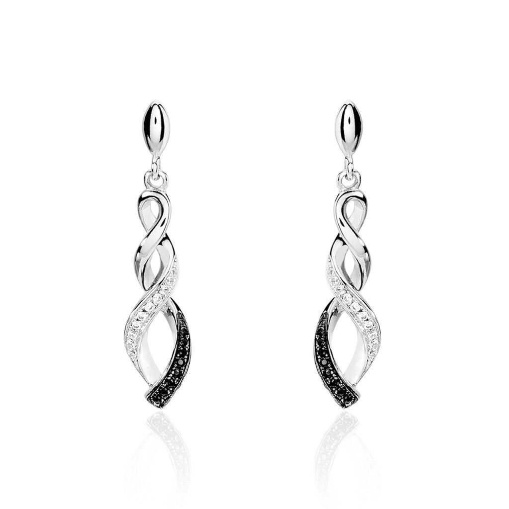 Boucles D'oreilles Pendantes Claudia Argent Blanc Oxyde De Zirconium - Boucles d'oreilles fantaisie Femme | Histoire d'Or